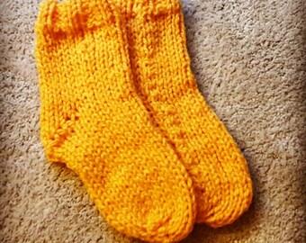 Hand Knit Mustard Socks