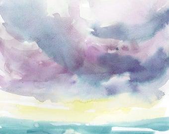 Original Watercolor Painting, Lake Painting, Ocean, Landscape Painting, Fine Art, Nature, Modern Art, Ink, Minimalist