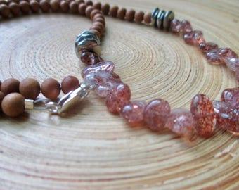 """Sunstone necklace sandalwood mala necklace with hematite and aromatic sandalwood beads / 24"""" yoga necklace"""