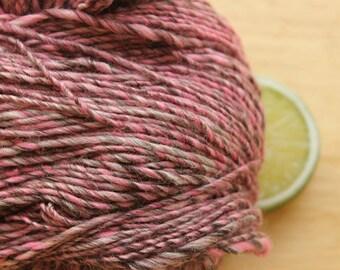 Electric Strawberry - Handspun Wool Yarn Pink Bamboo DK Weight Skein