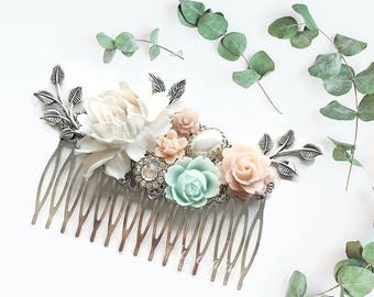 Wedding Hair Comb, Flower Hair Pin, Bride, Blush Pink, Mint Green, Pastel, Greenery, Bridal Hair Accessories, Floral Hair Slide, Bridesmaids