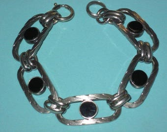 Vintage Rare French Mid Century 925 Sterling Silver Black Stone Oval Link Bracelet France Silver Hallmark 37.8g