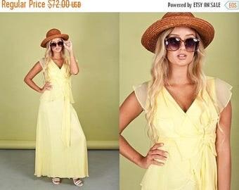 FLASH SALE 60s Yellow Chiffon Yellow Vintage Delicate Romantic Bow Maxi Dress