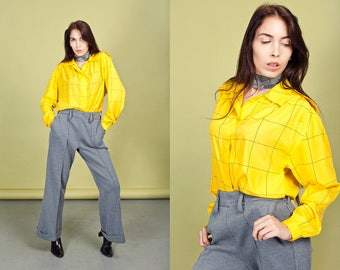 80s Yellow Geometric Blouse Vintage Bright Long Sleeve Lines Top