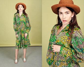 60s Botanical Green Dress Vintage Mod Graphic Print Dress