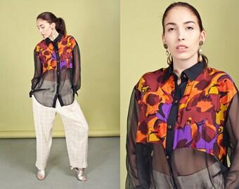 80s Orange Black Button Down Top Vintage Colorful Pattern Sheer Blouse