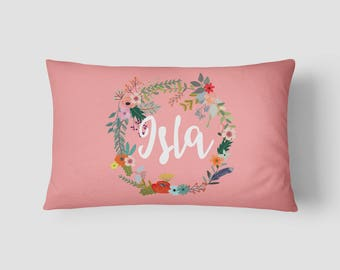 Personalised Name cushion Floral Wreath