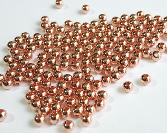 20 Rose Gold Round Smooth Ball Spacer Beads 5mm PEC317-5