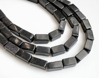 Navy Blue Goldstone rectangle tube gemstone beads KPOM154