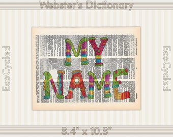 Custom Child's Name Sign with Colorful Font on Vintage Upcycled Dictionary Art Print Book Art Print Personalized Nursery Art Book Nook Art
