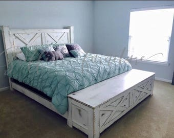 Handmade wood bed frame with storage footboard