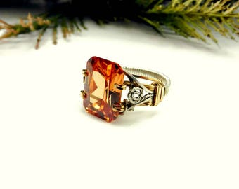 Wire Wrapped Solitaire Ring/Champagne Edwardian Style Prong Ring/Statement Ring