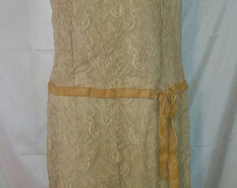 """BIG SUMMER SALE 60s Vintage Lace Chemise Party Dress-Size 4-Small-36"""" Bust-Special Event Hipster Art Deco"""