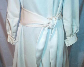 BIG SUMMER SALE 70s Vintage Off White Silk Jersey Caftan-Maxi Dress-Modest-Robert Courtney-Evening Gown-Hipster-Boho Chic-