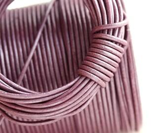 1.5mm Round Leather cord - Dark Pink Purple - 10 feet, LC058