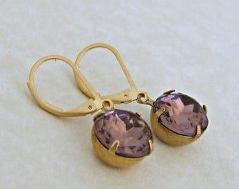 Amethyst Glass Earrings .. purple glass earrings, lilac earrings, vintage glass earrings