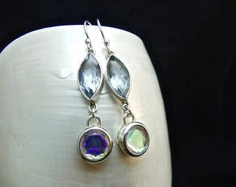Alexandrite & Nordic Mist Topaz Sterling Silver Handmade Earrings