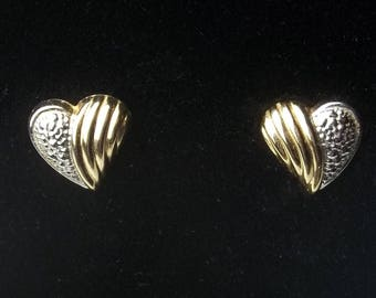 Vintage 1970's 14 K Solid Yellow & White Gold Heart Earrings Post Pierced Ear Fine Jewelry  Valentines Day Gift For Her Best Deal