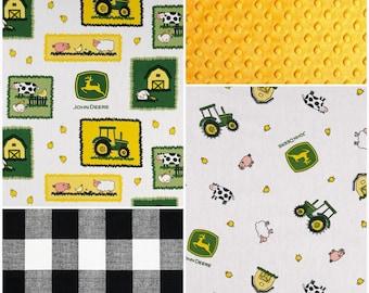 Crib Bedding Starter Set -  John Deere Tractors, Tossed Animals, and Black White Buffalo Check