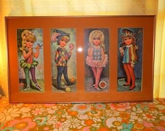 Vintage 1960s MID Century Retro GOJI Harlequin Groovy Big Eyes Kids Framed Wall Art Prints