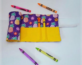Handmade crayon roll holder, great for travel, pineapples, purple and yellow, holds 16 crayons