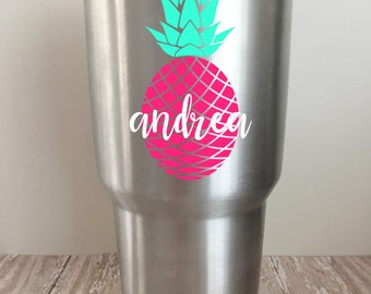 Personalized Pineapple Vinyl Decal for Yeti // Ozark Trail // RTIC Tumblers // Name Decal //