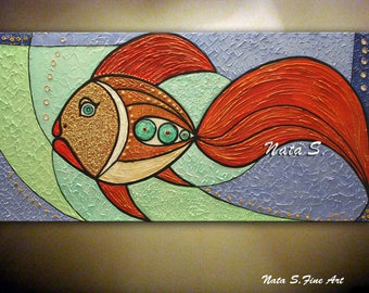 """Original Fish Painting, 48"""" Abstract Textured Large Artwork, Modern Fish Painting, Decorative Accents, Fun Gift, Home Office Decor by Nata S"""