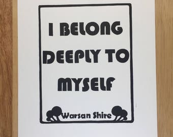I Belong Deeply To Myself - Original Linocut Print - Signed, Open Edition - Free Postage in UK