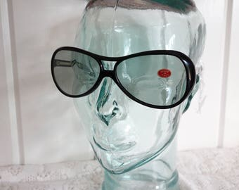 Vintage AVIATOR Italian  Large Black Bold Sunglasses New Dead Stock 1970s Over The Top
