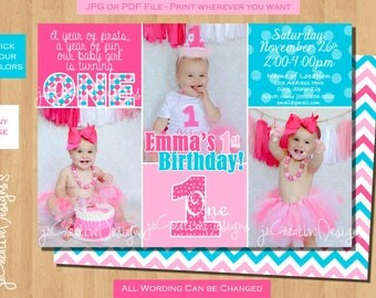 girl 1st birthday invitation first birthday 1st birthday girl invitation 1st birthday invitation girl turquoise Pink printable photo Custom