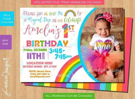 Rainbow birthday invitation rainbow birthday invite rainbow il570xn filmwisefo