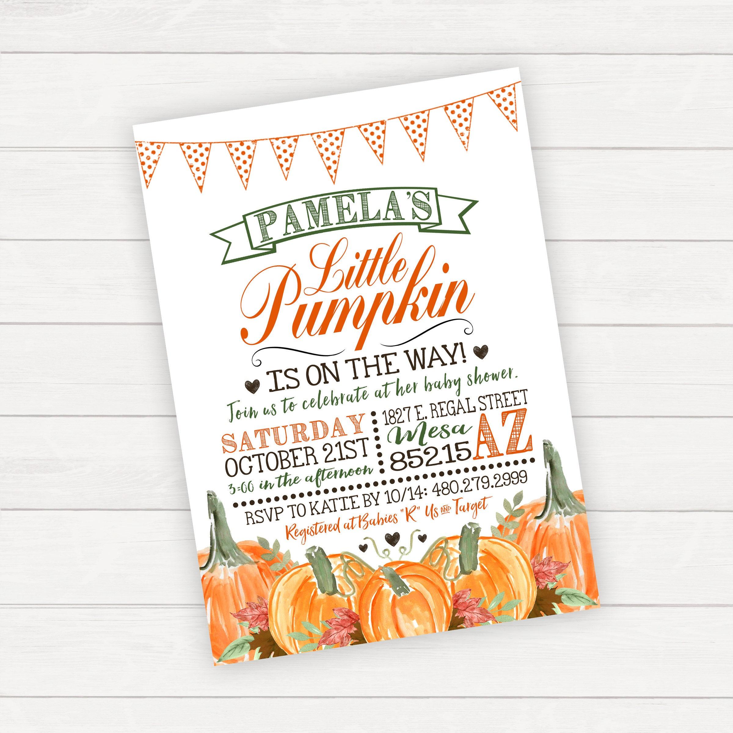 Pumpkin Baby Shower Invitation Halloween Baby Shower Invitation ...
