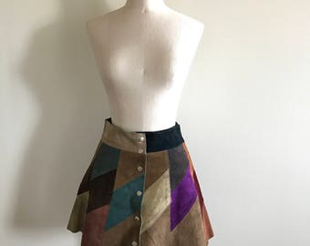Vintage 60s 70s Patchwork Suede Skirt
