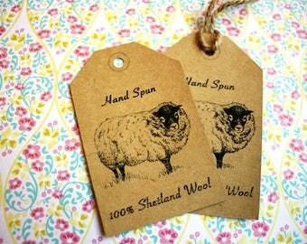 """Printable PDF- """"Hand Spun Yarn"""" Tags for Shetland Wool"""