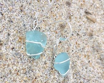 Watery-Blue Sterling Seaglass Earrings