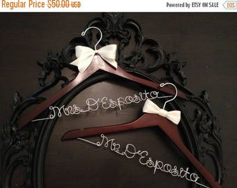 XMAS IN JULY Bridal Hanger / Bride & Groom Hangers / Mr. and Mrs. Wedding Hangers / Wedding Hangers Set / Personalized Hangers