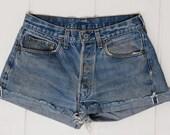 Vintage Levis Redline Shorts 501 Black Bar Indigo Denim Cut off Jean Shorts W 30