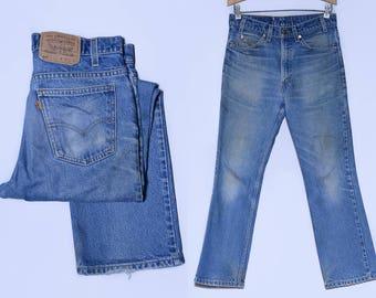 Vintage Levis 517 Perfectly Distressed Denim Orange Tag Blue Jeans 32 x 29