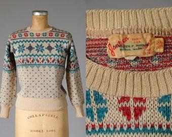 1940s Jantzen Ski Sweater Snowflake Knit Wool Novelty Sweater