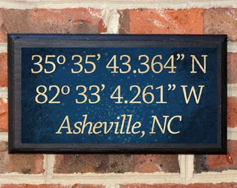 Longitude Latitude Wall Art Sign Plaque Gift Present Home Decor Vintage Style GPS Anniversary Custom Location Personalized Color Classic