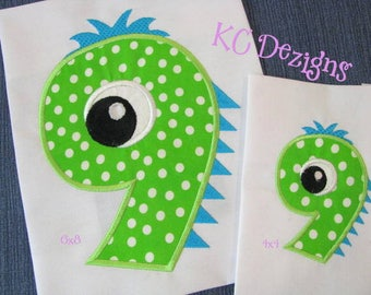 Silly Monster Number 9 Machine Applique Embroidery Design - Silly Monster Number, Monster Number, Monster Number Applique, Birthday Number