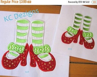 ON SALE Mrs Clause Feet Machine Applique Embroidery Design - 4x4, 5x7 & 6x8