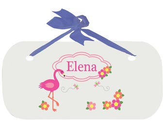 Personalized Boys Door Sign with Pink Flamingo Design-wplaq-blu-342