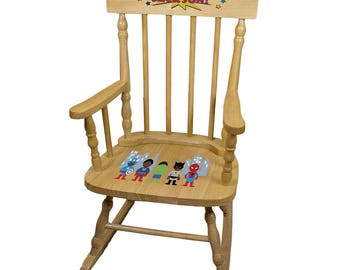Personalized Natural Childrens Rocking Chair with African American Super Hero Design-spin-nat-227c