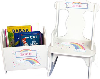 Personalized Puzzle Rocker and Book Caddy set with Pastel Rainbow Design-rknrd-235b
