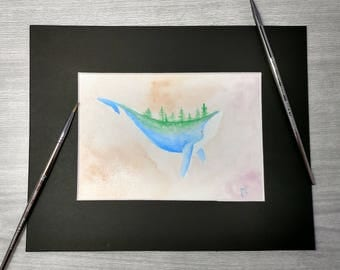Irridesant Whale With Forest On Back Watercolor Original Art