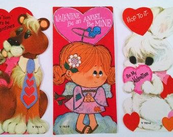 Three Unused Vintage Childrens Valentines Cards Kitty Girl Angel Bunny Heart Sweet!