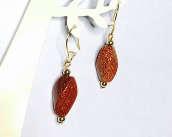 Vintage Gold plated earrings, brown stone & crystal beads, Clearance Sale, Item No. B418