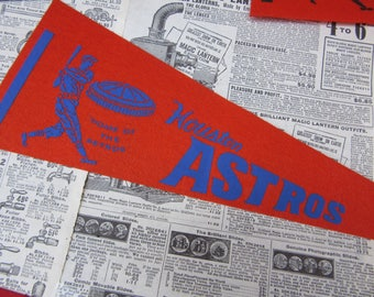 Rare Vintage Houston Astros Astrodome Baseball Pennant 15 Inch Banner Flag 1960s Era Collectible Vintage Sports Room Decor Old Baseball