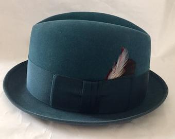 Vintage 1950s 60s Teal Turquoise Resistol Kitten Finish Beaver Fur Hat Fedora XXX 7 1/8